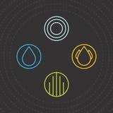 элементы 4 Значки 4 элементов Vector шаблоны логотипа намочите, проветрите, заройте и увольняйте Стоковое фото RF