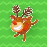 Элементы дизайна вектора рождества Весёлые олени, символ Нового Года Рождество стикер в стиле шаржа Стоковые Фотографии RF