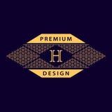 Элементы дизайна вензеля, грациозно шаблон Каллиграфическая элегантная линия дизайн логотипа искусства Эмблема h письма Знак дела бесплатная иллюстрация