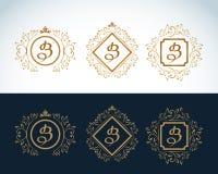 Элементы дизайна вензеля, грациозно шаблон Каллиграфическая элегантная линия дизайн логотипа искусства Эмблема b письма все любые иллюстрация штока