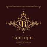 Элементы дизайна вензеля, грациозно шаблон Элегантная линия дизайн логотипа искусства Письмо b эмблема также вектор иллюстрации п иллюстрация штока