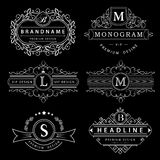 Элементы дизайна вензеля, грациозно шаблон Элегантная линия дизайн логотипа искусства Знак дела, идентичность для ресторана, коро иллюстрация вектора