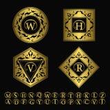 Элементы дизайна вензеля, грациозно шаблон Элегантная линия дизайн логотипа искусства иллюстрация штока