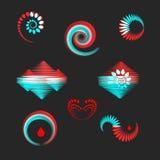 Элементы дизайна в красной и голубом Стоковые Изображения