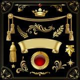 Элементы дизайна золота винтажные декоративные изолированные на черноте Стоковое Изображение RF