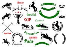 Элементы дизайна конноспортивных спорт с лошадями иллюстрация вектора
