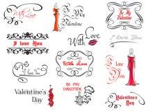 Элементы дизайна дня валентинки бесплатная иллюстрация