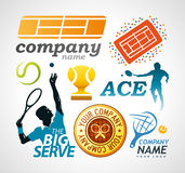 Элементы дизайна логотипа тенниса Стоковое Изображение RF