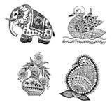 Элементы дизайна Пейсли Doodle Mehndi хны Стоковая Фотография RF
