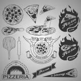 Элементы дизайна пиццы Стоковые Изображения RF