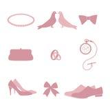 Элементы дизайна приглашения свадьбы винтажные Стоковые Изображения