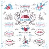 Элементы дизайна рождества каллиграфические ретро бесплатная иллюстрация