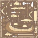 Элементы дизайна рыбной ловли коренного американца - illustra Стоковое фото RF