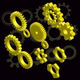 Элементы дизайна шестерней золота Стоковая Фотография