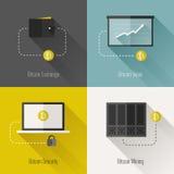 Элементы дизайна Bitcoin современные плоские. Иллюстрация вектора Стоковое фото RF