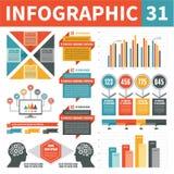 Элементы 31 дизайна Infographics Стоковая Фотография RF