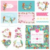 Элементы дизайна Scrapbook Wedding тропические цветки и комплект птицы попугая Стоковая Фотография