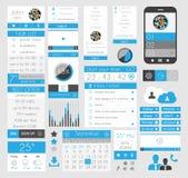 Элементы дизайна UI плоские для сети, Infographics, Стоковое Изображение RF