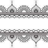 Элементы картины границы Seamles с цветками и линии шнурка в индийском стиле mehndi изолированные на белой предпосылке Стоковое Изображение RF