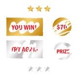 Элементы карточки царапины Приз лотереи игры выигрыша Стоковые Изображения