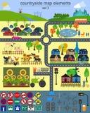 Элементы карты Contryside для производить ваше собственное infographics, мам Стоковое Изображение