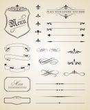 Элементы каллиграфических и страницы украшения Стоковые Изображения RF