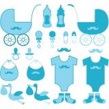 Элементы мальчика детского душа Объявление младенца Стоковая Фотография