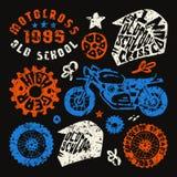 Элементы мотоциклинга в нарисованном вручную стиле Стоковое Фото