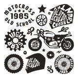 Элементы мотоциклинга в нарисованном вручную стиле Стоковое Изображение