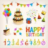 элементы дня рождения счастливые Стоковое Фото