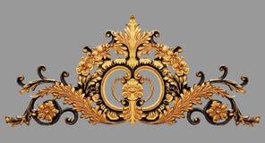 Элементы орнамента, винтажное золото флористическое стоковое изображение