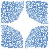 Элементы орнамента в голубых и белых цветах Стоковое фото RF