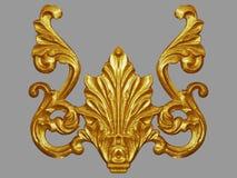 Элементы орнамента, дизайны винтажного золота флористические стоковое фото rf
