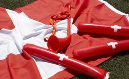 Элементы приветственного восклицания и торжества вентилятора спорт Швейцарии Стоковые Фотографии RF