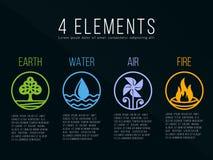 Элементы природы 4 в границе границы круга резюмируют знак значка Вода, огонь, земля, воздух На темной предпосылке Стоковые Изображения RF