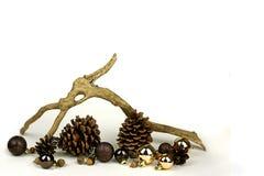 Элементы природы и предпосылка белизны рамки шариков рождества золота Стоковая Фотография
