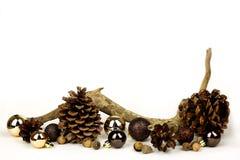 Элементы природы и предпосылка белизны рамки шариков рождества золота Стоковые Фотографии RF