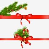 Элементы рождества декоративные с красными смычками иллюстрация Стоковая Фотография