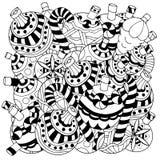 Элементы рождества нарисованные вручную декоративные Стоковое Фото