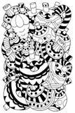 Элементы рождества нарисованные вручную декоративные Стоковое Изображение