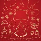 элементы рождества предпосылки изолировали белизну Стоковое фото RF