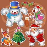 элементы рождества предпосылки изолировали белизну Стоковые Изображения RF