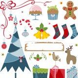 элементы рождества предпосылки изолировали белизну Стоковые Фотографии RF