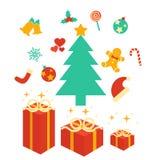 элементы рождества предпосылки изолировали белизну Стоковые Изображения