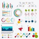Элементы рынка коммерческих информаций ставят точки диаграммы долевых диограмм бара и gr Стоковая Фотография RF
