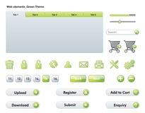 Элементы сети - зеленая тема иллюстрация вектора