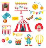 Элементы собрания красочные для цирка и масленицы иллюстрация штока