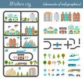 Элементы современного города в дизайне стиля материальном Стоковые Изображения