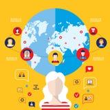 Элементы социальной глобальной связи концепции сети infographic Стоковые Изображения RF