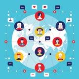 Элементы социальной глобальной связи концепции сети infographic Бесплатная Иллюстрация